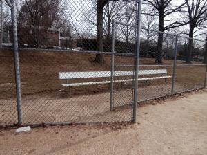 View of the bench from home plate area.